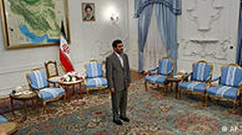 Ahmadinejad at his official residence in Tehran