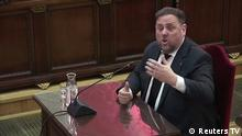14.02.2019 +++ Former Catalan Vice President Oriol Junqueras testifies before judges during the trial of jailed Catalan separatist leaders at the Supreme Court in Madrid, Spain, February 14, 2019 in this screengrab taken from video. REUTERS/Reuters TV