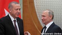 14.02.2019, Turkish President Recep Tayyip Erdogan and Russian President Vladimir Putin meet in the Black sea resort of Sochi, Russia February 14, 2019. Sergei Chirikov/Pool via REUTERS