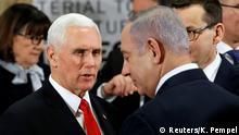 Polen Warschau -Nahost-Gipfel mit Mike Pence, Benjamin Netanyahu und Mateusz Morawiecki