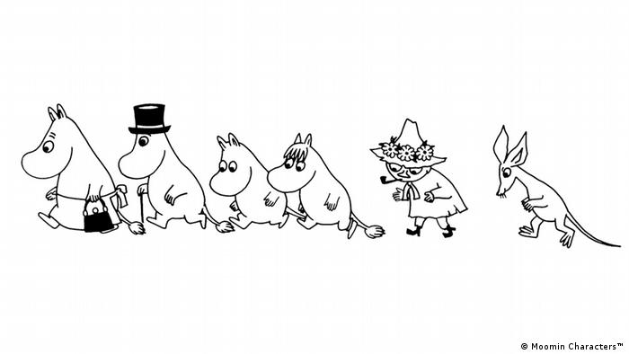 A sketch of the Moomin family in a line (Moomin Characters™)