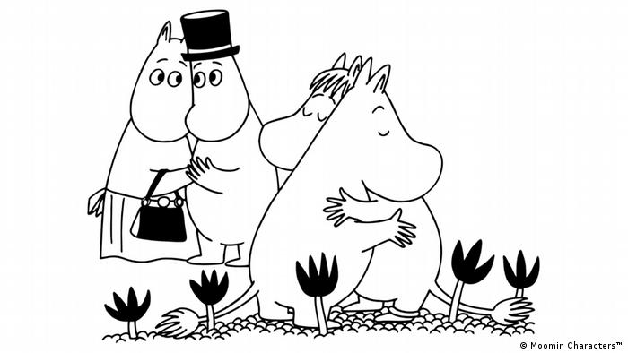Drawing of the Moomins shows brother and sister Moomin hugging while Mamma and Pappa Moomin look on (Moomin Characters™)