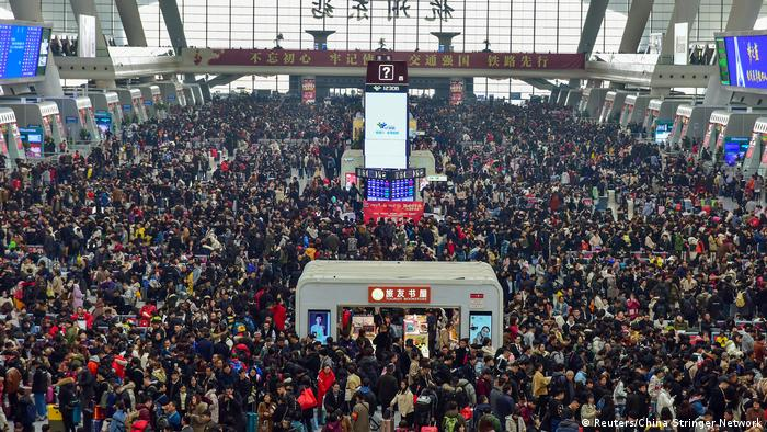 A crowded railway station in China