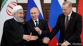 Президент Ирана Рухани, президент России Путин и президент Турции Эрдоган