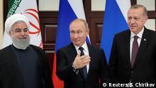 Iranian President Hassan Rouhani, Russian President Vladimir Putin and Turkish President Recep Tayyip Erdogan meet in the Black sea resort of Sochi, Russia, 14 February 2019. Sergei Chirikov/Pool via REUTERS