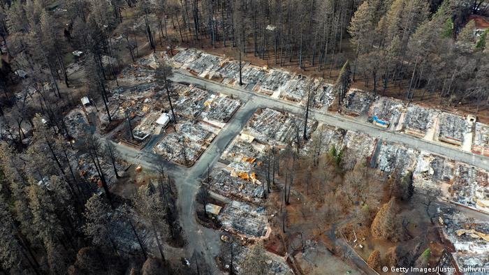 An overhead view of Paradise, California, after the wildfire