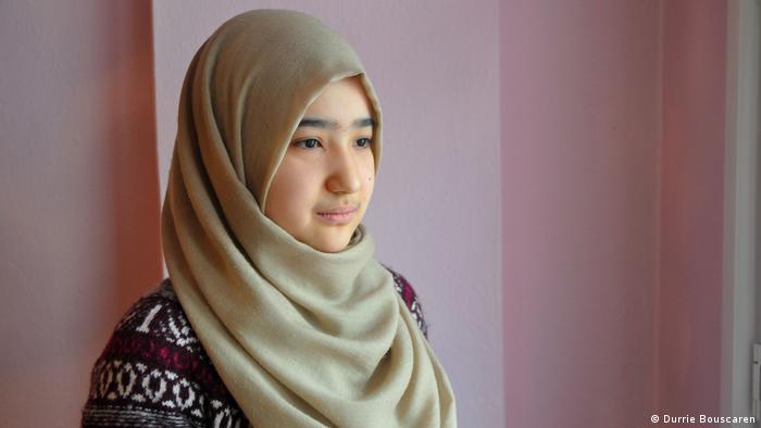A woman in a headscarf
