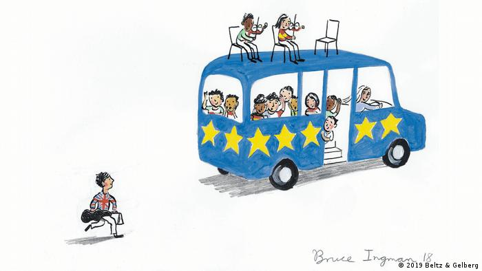 Bruce Ingman's drawing for Drawing Europe Together: a British boy is running after a bus (2019 Beltz & Gelberg)