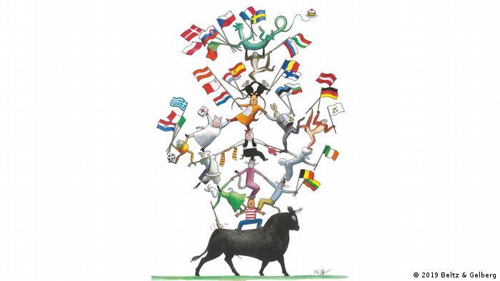 Los Estados de Europa asumen el papel de acróbatas y realizan un acto de equilibrio similar al circo sobre el lomo del toro europeo.