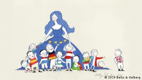 La ilustradora británica Polly Dunbar dibujó a Europa como una hermosa mujer de cabello suelto que cuida a una horda de niños felices.