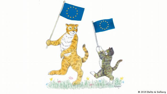 Judith Kerr envía a sus conocidas figuras, el tigre y el gato Mog a su viaje por Europa. Ambos ondean alegremente su bandera europea.