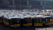 Buses are pictured in a bus depot during a strike of employees of Berlin's municipal transport service BVG (Berliner Verkehrsbetriebe) in Berlin, Germany, February 15, 2019. REUTERS/Fabrizio Bensch