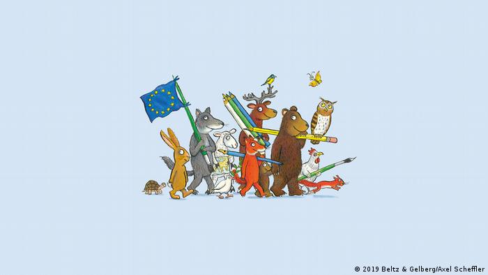 Illustrated animals walking in a group carrying the EU flag and colored pencils