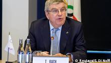 International Olympic Committee (IOC) President Thomas Bach from Germany speaks to North Korea's and South Korean delegations during a meeting with the International Olympic Committee for their bid to co-host the 2032 Summer Olympics, at the IOC Headquarters in Lausanne, Switzerland, Friday, February 15, 2019. Salvatore Di Nolfi/Pool via REUTERS