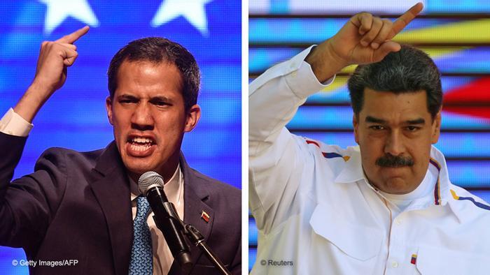 Fotos de Guaidó e Maduro colocadas lado a lado, ambos com dedo em riste