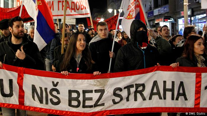 Serbien - Anti-Regierungsprotest in Nis