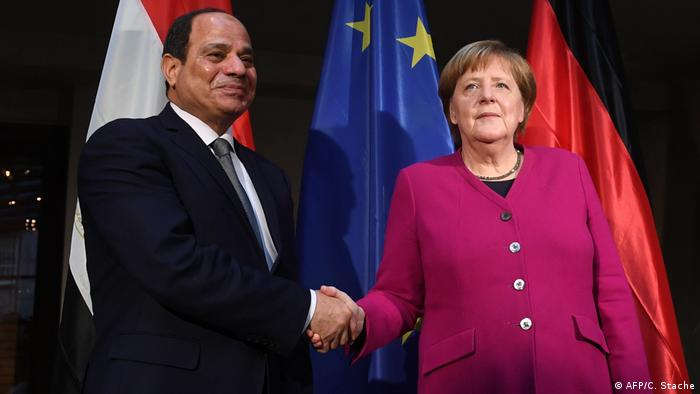 Abdel-Fattah el-Sissi and Angela Merkel (AFP/C. Stache)