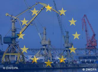 Port cranes symbolizing economic growth in Europe
