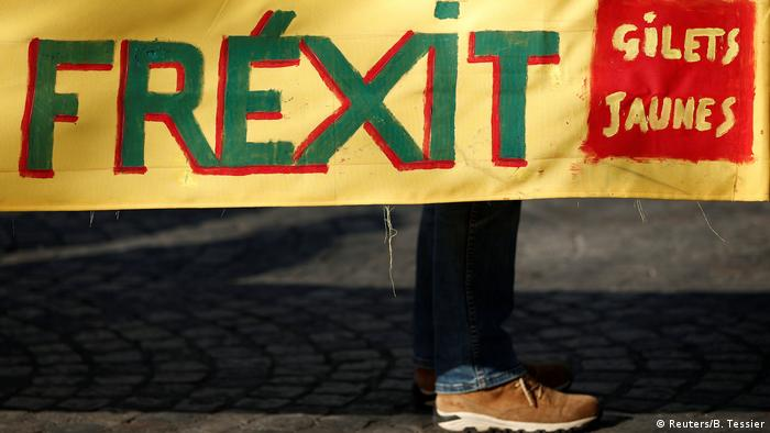 The word Frexit on a banner at a protest rally