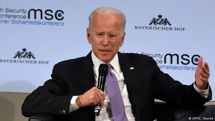Former US Vice President Joe Biden speaks during a panel discussion during the 55th Munich Security Conference in Munich, Germany, on February 16, 2019