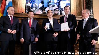 Aπό την απονομή του βραβείου Έβαλντ φον Κλάιστ στους Αλ. Τσίπρα και Ζ. Ζάεφ