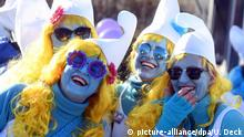 People dressed as Smurfs in Lauchringen, Germany