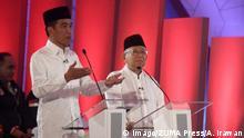 17.01.2019 January 17, 2019 - Jakarta, Capital Region of Jakarta, Indonesia - Indonesia Presidential Candiate, Joko Widodo (left) and his runing mate, Ma ruf Amin (right) speaks during the Presidential Candidate Debate in Jakarta, Thursday, January 17, 2019. Indonesia expected to hold the presidential election on April 2019. Jakarta Indonesia PUBLICATIONxINxGERxSUIxAUTxONLY - ZUMAn230 20190117_zaa_n230_120 Copyright: xAdityaxIrawanx