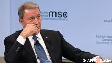 Turkish Defence Minister Hulusi Akar attends a panel discussion during the 55th Munich Security Conference in Munich, southern Germany, on February 17, 2019. - The 2019 edition of the Munich Security Conference (MSC) takes place from February 15 to 17, 2019. (Photo by Christof STACHE / AFP)