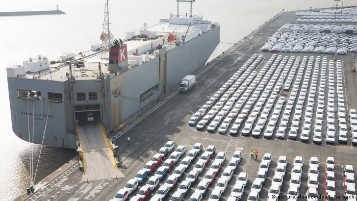Audi (VW) cars being loaded at Emden in northern Germany
