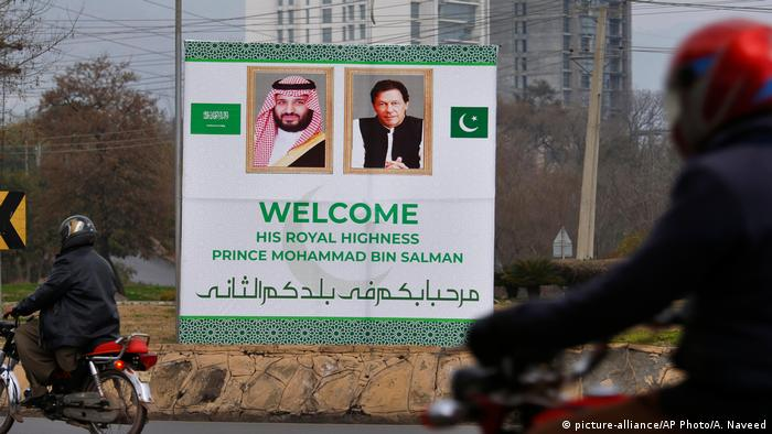 Billboard welcoming Mohammed bin Salman to Pakistan
