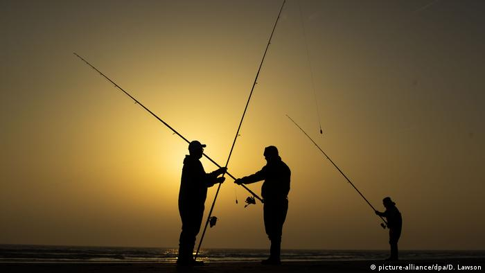 anglers standing in the sunset (picture-alliance/dpa/D. Lawson)
