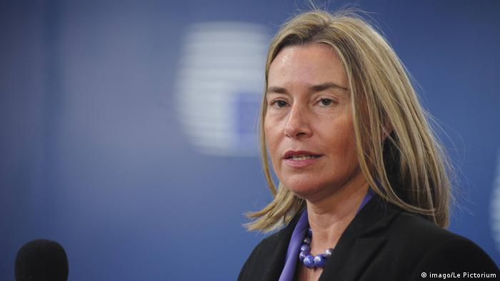 PK EU-Außenminister für Saktionen gegen Russland | Federica Mogherini (imago/Le Pictorium)
