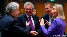 EU-Außenminister für Saktionen gegen Russland | Georgios Katrougalos, Jean Asselborn und Federica Mogherini