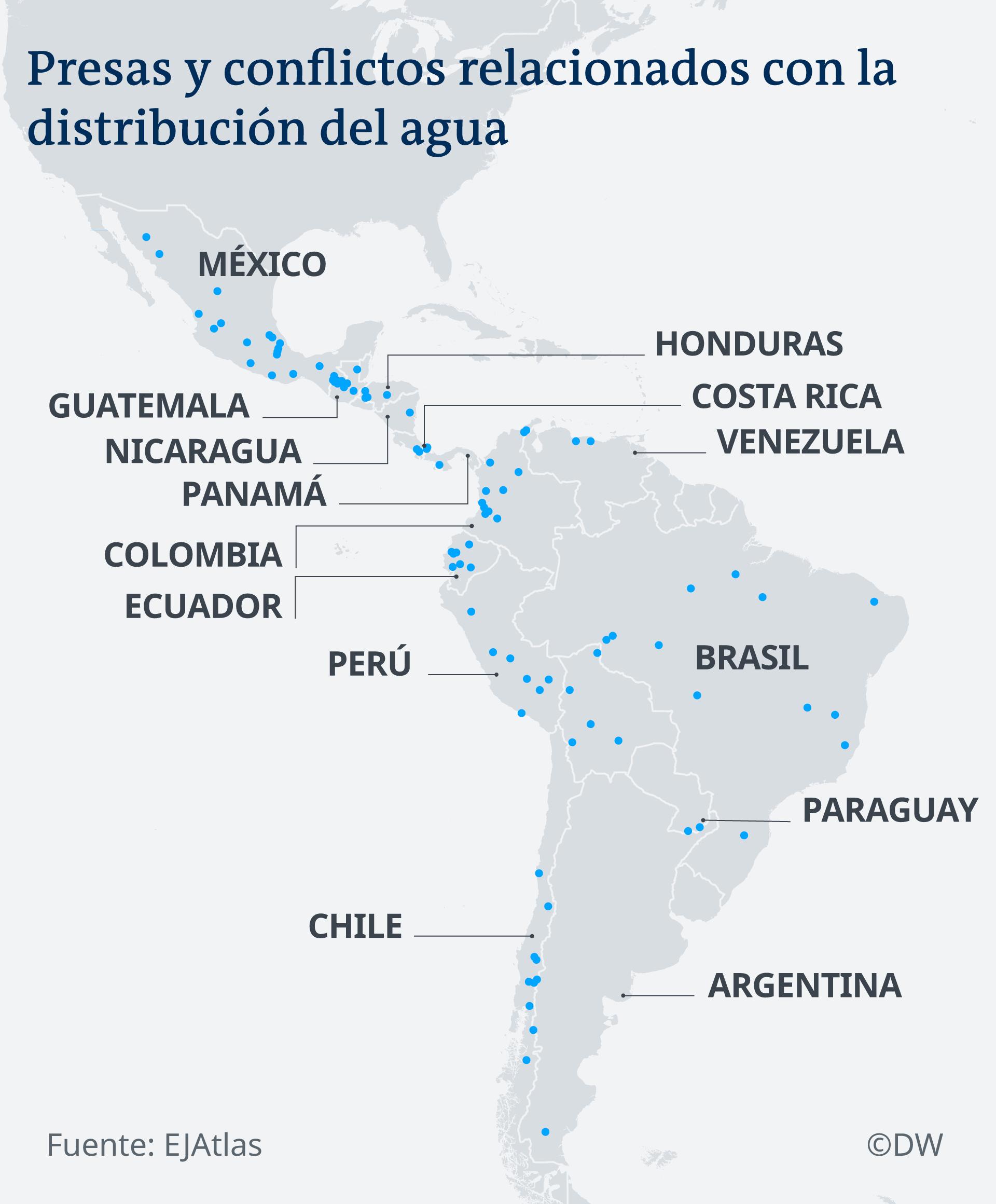 Infografik Karte Wasserversorgungs Konfliktgebiete in Lateinamerika ES