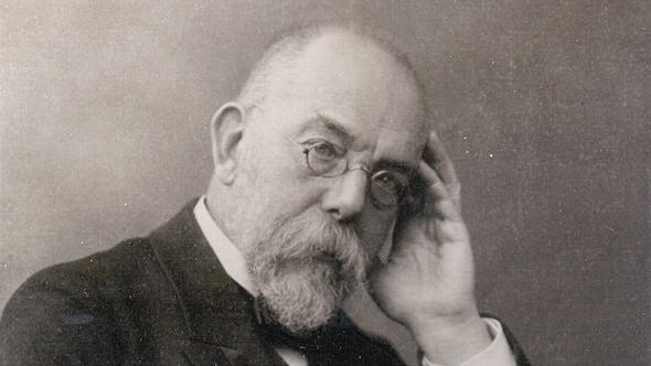 A black-and-white historic photo of Robert Koch