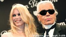 Model Claudia Schiffer and German fashion designer Karl Lagerfeld pose for pictures at the Dom Perignon Oenotheque 1993 Launch Party in Paris, France on July 4, 2007. Photo: Remi Ochlik/Maxppp +++(c) dpa - Report+++ |