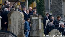French President Emmanuel Macron at the Quatzenheim cemetery in Alsace