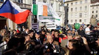 Demos gegen den Lissabon-Vertrag in Prag