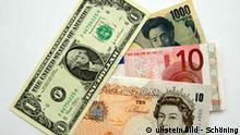 Geld, Geldscheine Dollar, Yen, Euro und Britisceh Pfund. ullstein bild - Schöning