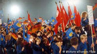 Young East Germans march during celebrations to mark the 40th anniversary of the GDR