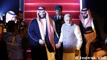 Narendra Modi greets Mohammed bin Salman at New Delhi airport