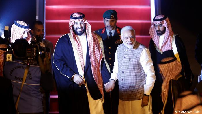 Narendra Modi greets Mohammed bin Salman at New Delhi airport