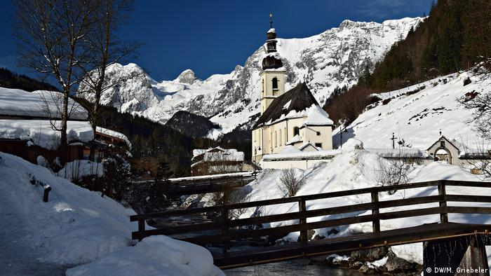 The famous Ramsau village church in winter