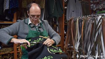 Franz Stangassinger makes lederhosen for customers from around the world