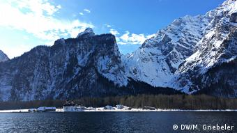 Lake Königssee with St. Bartholomew's Church in winter