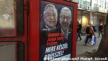 Ungarn Plakat George Soros und Jean-Claude Juncker