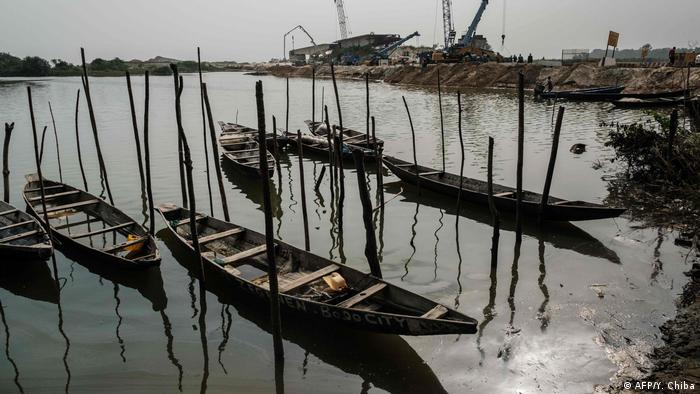 Empty fishing boats on the Bodo River in Nigeria.