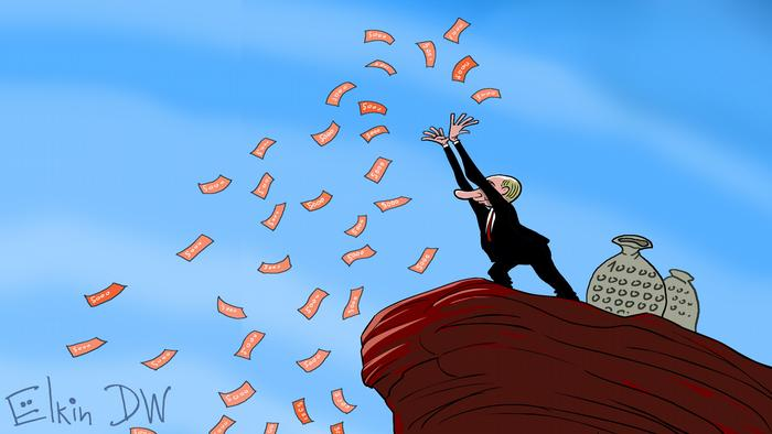 A cartoon putin throws out fistfuls of money from a cliff