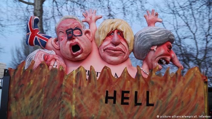 Effigies of Theresa May, Boris Johnson, Michael Gove and David Davis