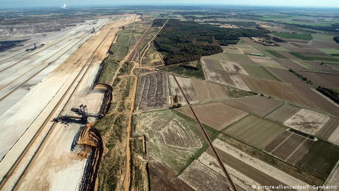 Bird's-eye view of Hambach Forst and the nearby open-pit mine